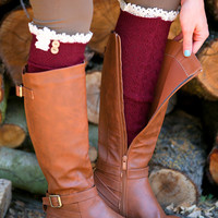Thick Knit Lace Boot Socks