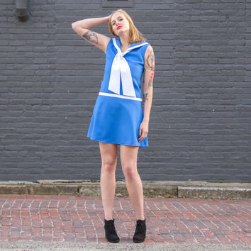 vintage sailor dress women / sailor collar nautical dress / 60s mini dress / sailor style dropwaist dress / 1960s mod dress