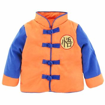 Baby Boy Goku Costume Jacket Infant Long Sleeve Coat Baby Halloween Outwear Autumn Winter Jacket For Boys Coat Set Age 6-24M