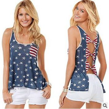 Blue Striped American Flag Print Backless Bowknot Pockets Casual Vest
