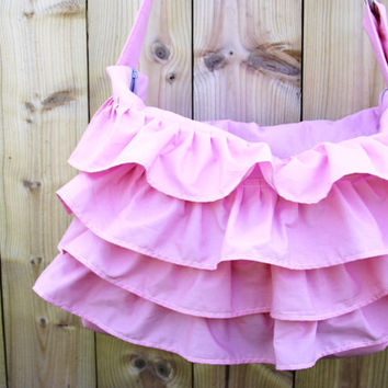 Pink Ruffled Diaper Bag - Cotton Candy Pink - Crossbody