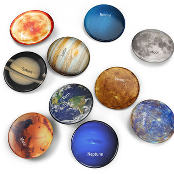 10 pin set: planets, sun and moon, planet badge, astronomy gift, space pins, space badges, moon pin, solar system pins, solar system gift