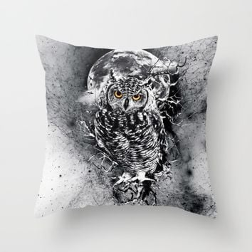 OWL BW Throw Pillow by RIZA PEKER