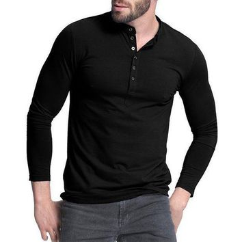 ICIKON3 mens henley shirtpopular design tee tops long sleeve stylish slim fit plain t shirt button placket casual men t shirts 1