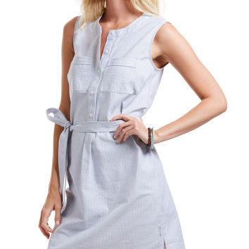 Stripe Oxford Sleeveless Shirt Dress