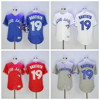 9db93a3be9b White MLB Majestic Toronto Blue Jays Flex Base Vintage 19 Jose Bautista  Jersey ...