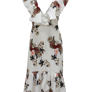 White V Neck Floral Print Hi-lo Hem Ruffle Dress