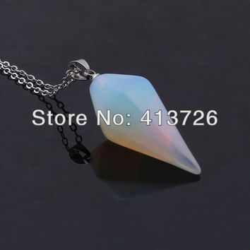 UMY Trendy Silver Plated Stone Hexagon Prism Pendant Opalite Opal Necklace Fashion Opal Jewelry