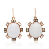 14K Rose Gold, Cocholong and Diamond Earrings | Moda Operandi