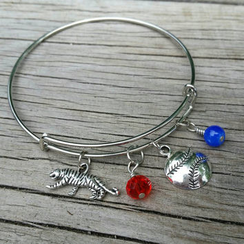 Detroit bracelet - Michigan charm bangle - Detroit Baseball team jewelry, Tigers accessory. Perfect gift for Detroit Tigers Baseball fans