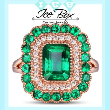 Cultured Emerald Engagement Ring 8 x 6mm 1.9ct Cultured Emerald in a 14k Rose Gold Diamond and Emerald Halo Setting