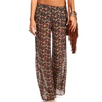 BlackRed Floral Pants