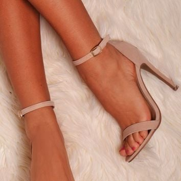 Tadio Nude Suede Effect Buckle Shoes | Pink Boutique
