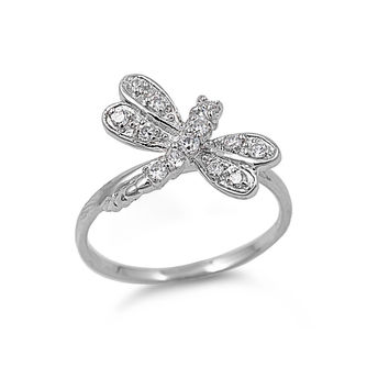 925 Sterling Silver CZ Dragonfly Ring 18MM