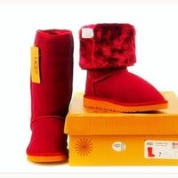 UGG Women Fashion Wool Snow Boots simple high boots Red