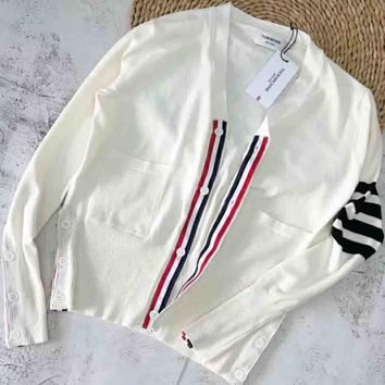 THOM BROWNE New fashion chest stripe button long sleeve knitting coat top White