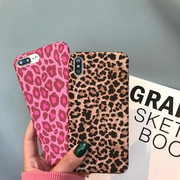 Retro Leopard print Hard PC Case For iPhone X XS Max XR Vintage victoria secret pink Cover For iphone 7 7Plus Woman Phone Cases