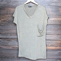 oversize distressed tee - vintage acid wash - olive