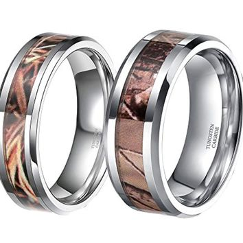 CERTIFIED 6mm 8mm Camouflage Autumn Leaves Inlay Tungsten Hunting Camo  Band