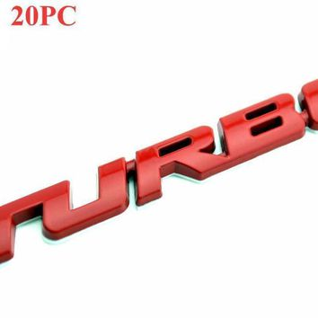 Red Turbo Emblem Metal Auto Trunk Car Sticker