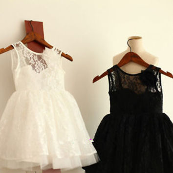 Lace Flower Girl Dress with Open V Back Baby Girl Dress 2T 3T 4T 5T 6T 7T