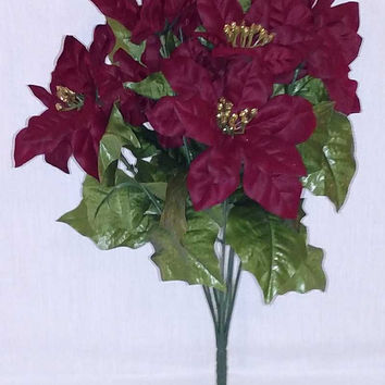 Burgundy Designer Poinsettia Bush - 19 Inch - On Sale!!