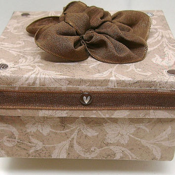 Square brown floral gift box, Chocolate brown accents, Fabric ribbon flower, Soft floral paper, Decorative box, Keepsake box, Memory box
