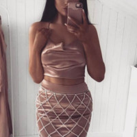 Cleo Diamante Cage Skirt - Silver