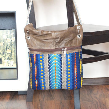 Crossbody fashionable unique bag, leather foldover bag with handwoven wool part, tribal indie purse, leather crossbody bag