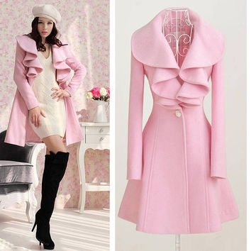 2013 Autumn New Arrival Fashion Graceful Warm Women Long Coat Overcoat Wool Blends Trench Outwear Perfect  # L034420