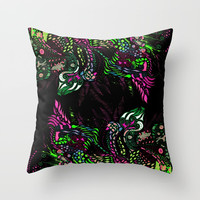 Swan Floral Throw Pillow by ES Creative Designs