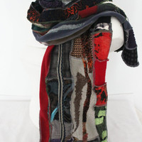 Male Gray scarf, Male Unique Scarf, Men extra long shawl, Male boho scarf, Black gray red scarf, Male winter scarf, Men Christmas gift
