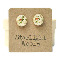 Vintage floral studs earrings cream rose floral post earrings shabby chic wood jewelry nature inspired Minimalist jewelry  eco friendly