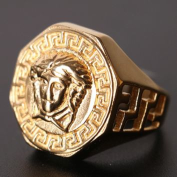 Versace Stainless Steel Hot Sale Hip Hop Titanium Steel Head Ring F0873-1