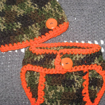 Baby Little Hunter Camo Baby Diaper Cover and Baby Hat Set Newborn-  Baby Shower Gift, Ready to Ship