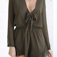 Army Green Bow-Tie Neck Chiffon Romper