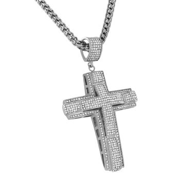 White Cross Pendant Necklace Franco Chain