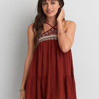 AEO EMBROIDERED BOHO SHIFT DRESS