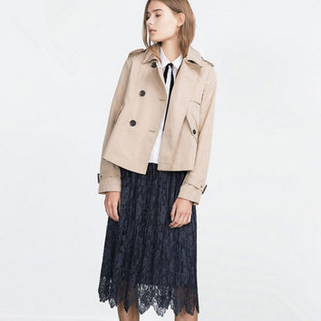 Autumn Classic Style Double-breasted Coat Lapel Loose A Swing Coat Jacket