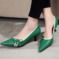 Vintage Leather Pointed Toe Butterfly Low-cut Shoes [4920469636]