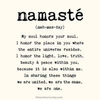 Large Namaste Poster - 16x20 inches on A2. Inspiring quote typography art poster print.