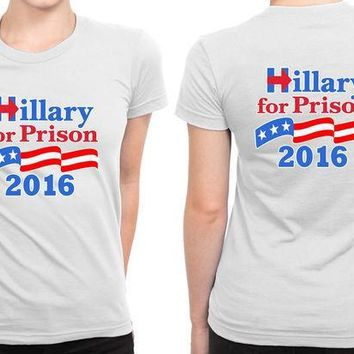 ESBH9S Hillary Clinton For President 2016 (3) B 2 Sided Womens T Shirt
