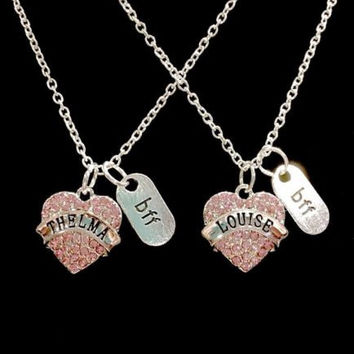 Thelma Louise Pink Crystal Best Friend Partners In Crime Bff Charm Necklace Set