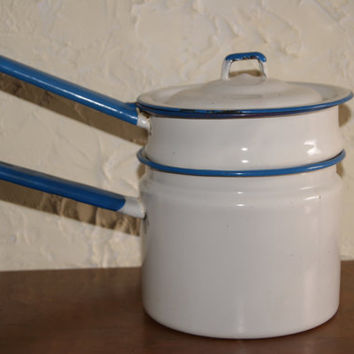 Vintage 1950s White With Blue Trim Enamelware Double Boiler With REDIPPED TRIM Unmarked