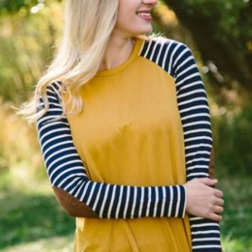 Yellow Patchwork Striped Print Round Neck Casual T-Shirt