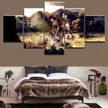 Cool Attack on Titan 5 Panels  Eren Yeager Levi Ackerman Anime Poster Modern Wall Decor Picture Printed Painting On Canvas Artwork AT_90_11