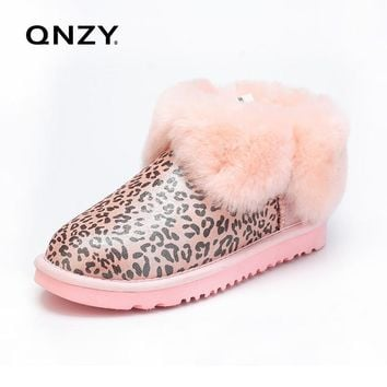 QNZY Women Snow Boots Australia Sheep Fur Winter Snow Boots Female Short Boots Flat Bottom Custom Ankle Shoes Free Shipping