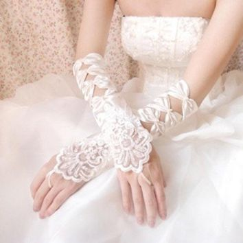 CREYUG3 Quadripartite colour the bride embroidered white fingerless gloves wedding dress long design satin embroidered gloves = 1929429828