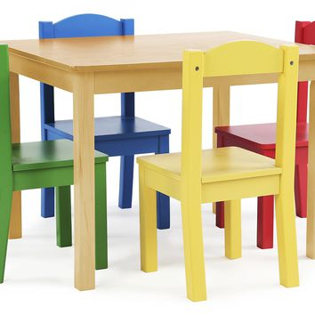 Tot Tutors Kids Wood Table and 4 Chairs Set Natural/Primary (Primary Collection)