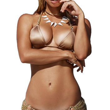 Beach Bunny Swimwear Ball and Chain Triangle Top Bronze